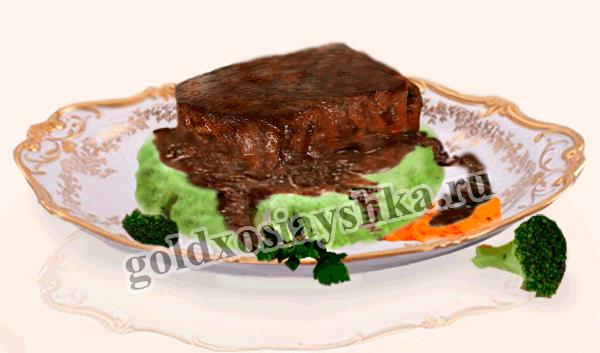 Филе из говядины в винном соусе