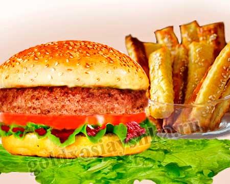 Бифштекс из говядины с картофельными палочками