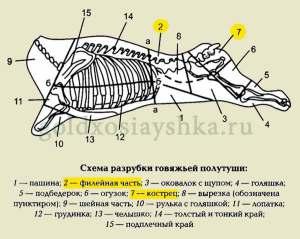 Схема разработки говяжьей полутушки  (Кликните по картинке)