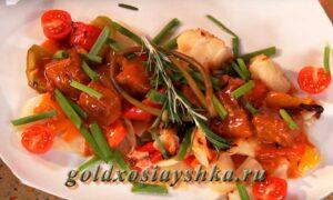 Говядина в пряном соусе с овощным рагу