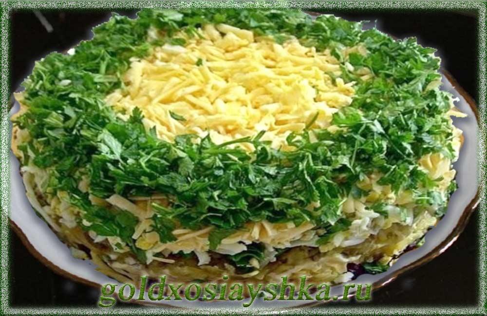 Торт-салат с грибами